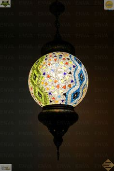 Multicolour Turkish Mosaic Hanging Lamp Light Hand Craft XL Large Globe