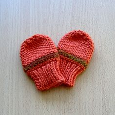 Knitted Babies Mittens, Deep Orange and Rust.. £5.00, via Etsy.