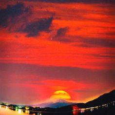 sunset at mystical mount fuji japan  crayons