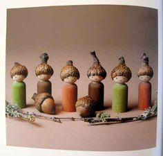 Peg doll acorn gnomes created by Lenka Vodicka-Paredes, author of Forest Fairy Crafts. http://www.achildsdream.com/forest-fairy-crafts/