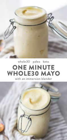 This is the best Whole30 mayo I've ever made! This immersion blender Whole30 mayo recipe is ready in one minute. It's rich and creamy, not to mention crazy easy and quick. You can use olive oil, avocado oil, or coconut oil, too! Paleo and clean eating. #whole30 #condiment #recipe #paleo #keto #lowcarb #healthy #cleaneating #realfood