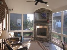 screened in deck with fireplace - Google Search                              …