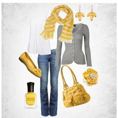 Loving the bright yellow paired with the understated gray cardigan. Yellow nail polish too!Yellow and grey casual, created by clarissa-matson.