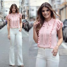 like the frills and bow on this! Maybe in a darker or brighter color? Cool Outfits, Casual Outfits, Fashion Outfits, Womens Fashion, Blouse Styles, Blouse Designs, Mein Style, Outfit Trends, Mode Hijab