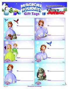 Sofia the First Holiday Gift Tags printable