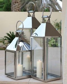 Stainless Steel Lanterns with Shiny Polished Finish Outdoor Candle Holders, Floor Candle Holders, Modern Candle Holders, Outdoor Candles, Large Candle Holders, Lantern Candle Holders, Floor Lanterns, Lanterns Decor, Candle Lanterns