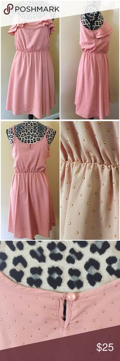 "LC Lauren Conrad Blush Pink Dress Gold Polka Dot LC Lauren Conrad Blush Pink Dress Gold Polka Dot ---  Fully lined --- Polyester shell and lining --- elastic waist --- ruffled bodice --- embossed gold polka dots --- adjustable shoulder straps --- 35"" length --- 17.5"" bust --- 14"" waist (stretches) --- excellent pre-loved condition, like new --- thank you for visiting my boutique, please feel free to ask any questions  LC Lauren Conrad Dresses"