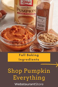 Shop our pumpkin baking ingredients. With everything from pumpkin spice to canned pumpkin to beverage flavoring syrups, there's something to kick off your baking!  Fall Desserts, Delicious Desserts, Dessert Recipes, Yummy Food, Baked Pumpkin, Pumpkin Recipes, Fall Recipes, Fall Baking, Pumpkin Dessert