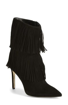 "Tiers of eye-catching fringe swing on this butter-soft suede boot, while the style""s clean lines, pointy toe and slender heel play a beautiful supporting role. Nordstrom"