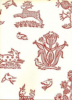 Celia Birtwell Beasties Wallpaper in off white with animals printed in red