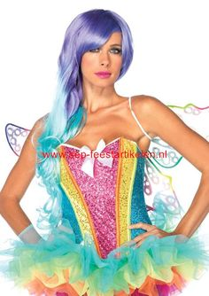 Leg Avenue Rainbow Sequin corset direct leverbaar! - SEP Feestartikelen
