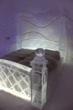 This is an unusual bed, to say the least. From Snowcastle, Kemi, Finland.