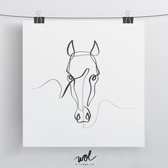 Horse art print - horse wall art horse print horse gift horse portrait one line drawing minimal horse art equine art equestrian art single line Horse Drawings, Animal Drawings, Art Drawings, Drawing Art, Drawing Ideas, Painted Horses, Art Abstrait Ligne, Line Drawing Tattoos, Sketch Tattoo