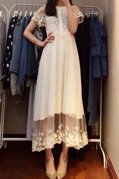 Lace Spliced Chiffon Elegant Round Neck Short Sleeve Dress
