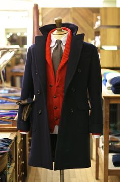 drakes-london: This season we have added two new colours to our Cashmere Shawl Collar Cardigans including Constellation Blue and Cardinal Red which has been styled above with our Double Breasted Wool Overcoat. We have also restocked all of our previous classic colours as well. All are available online and at No.3 Clifford St.