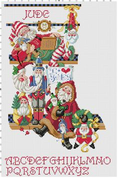 Santa Stocking Counted Cross Stitch Pattern by Berwickbay Cross Stitch Stocking, Santa Cross Stitch, Cross Stitch Christmas Stockings, Xmas Stockings, Cross Stitch Love, Cross Stitch Needles, Christmas Cross, Counted Cross Stitch Patterns, Cross Stitch Designs