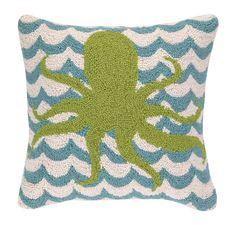 Octopus in Waves Hook Wool Throw Pillow