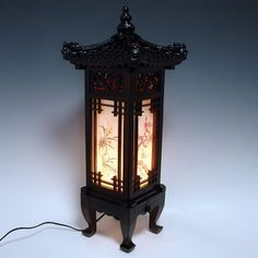 Carved Wood Lamp Handmade Traditional Korean Dragon Roof and Window Design Art Deco Lantern Brown Asian Oriental Bedside Bedroom Accent Unusual Table Light, http://www.amazon.com/dp/B004W3BIN4/ref=cm_sw_r_pi_awd_YOSxsb1HVVPGF
