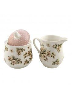 "Katie Alice ""cottage Flower"" Porcelain Sugar Bowl And Creamer Jug By Creative"