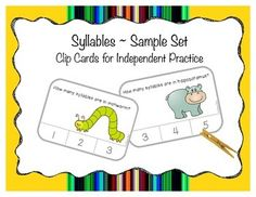 Clip cards are great for independent practice in centers or small groups.  Included answers adhered to back of cards (or stickers of your choosing) allows for self-correction.  Using clothespins or clips helps strengthen the pincer grasp.  Of course, dry-erase markers, counters, or seasonal items can be used to mark the answers instead.Children will identify the number of syllables in the given image, attach a clothespin to the correct numeral, and flip the card to check their answer.