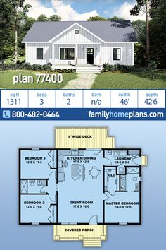 Country Ranch Home Plan is 1311 Sq Ft, 3 Bedrooms, 2 Bathrooms Offers Affordable Construction - This popular small country ranch home plan offers affordable construction based on its simple desig - Small House Floor Plans, House Plans One Story, Dream House Plans, Small House Plans, Wooden House Plans, Little House Plans, Simple Floor Plans, House Plans 3 Bedroom, Ranch House Plans