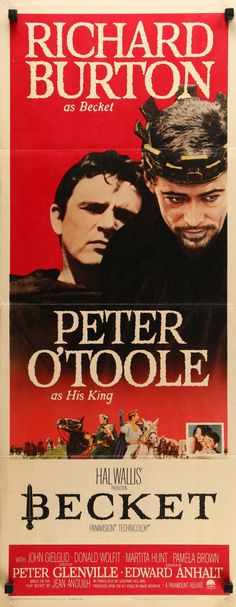 """Film: Becket (1964) Year poster printed: 1964 Country: USA Size: 14""""x 36"""" This is a vintage insert movie poster from 1964 for Becket starring Richard Burton, Peter O'Toole, John Gielgud and Pamela Bro"""