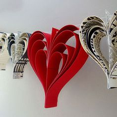 Hand-cut Paper Heart Garland Decor- Cute for shower