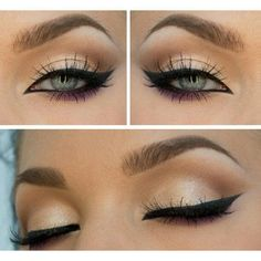 Simple Shadow on top with strong liner and a pop of color on the bottom #FXProm