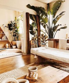 Lots of wood and plain white - California living with palm trees. 🌴🙌🏻 - Lots of wood and plain white – California living with palm trees. Cozy Apartment, Apartment Living, Apartment Therapy, Cozy Living Rooms, Living Room Decor, Natural Living Rooms, Tropical Living Rooms, Living Room Yoga, Earthy Living Room