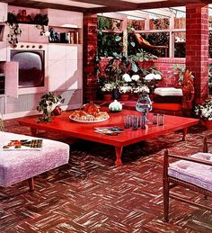 1955 living room design with Armstrong flooring.