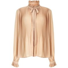 Miss Selfridge Nude Pleat Blouse ($80) ❤ liked on Polyvore featuring tops, blouses, nude, miss selfridge, flounce top, flutter-sleeve top, ruffle top and frilly blouse