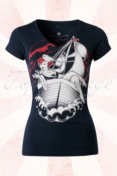 Rock Steady Clothing - 50s Sassy Sailor Girl T-Shirt in Indigo