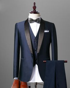 Black/Navy shawl lapel Tuxedos for Men Formal Men Groom Suits 3 Pieces (Jacket+Vest+Pants) - Note:Dear friends,if you find that the standard do not fit you very well , please feel free to c - Formal Suits, Men Formal, Mens Fashion Suits, Mens Suits, Groom Suits, Navy Shawl, Mode Costume, Designer Suits For Men, Tuxedo For Men