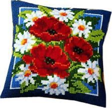 """Vervaco POPPIES PN-0008615 Chunky Cross Stitch Cushion Front Kit 16"""" x 16"""""""