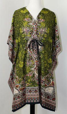 63919c47f99 Swimsuit Cover Up Green Kaftan Top Boho Festival Short Caftan Woodstock  Ethnic #Unbranded #CoverUp