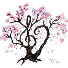 Cherry Blossom Music Tattoo