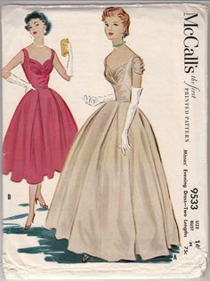 Vintage Sewing Pattern 1950's Evening Dress McCall's by Mrsdepew, $115.00