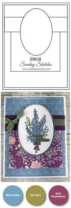 Handstamped thank you card stamped using the Lots of Lavender stamp set from Stampin Up, using a card sketch from the Sunday Sketches Card Series www.stampstodiefor.com #cardsketch #cardtemplate #handmadecard