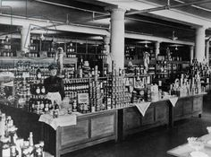 """Super market: """"Canned goods counter at Macy's Department Store, Herald Square, New York City, Vintage Pictures, Old Pictures, Old Photos, Vintage Photography, Street Photography, Manhattan Nyc, History Images, Vintage New York, Department Store"""