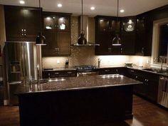 Moon White Granite, Dark Kitchen Cabinets. | Kitchen Ideas ...