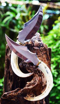 Hunting Knife 440c Warthog Tusks Handle Set 2 pieces 99.99$