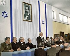 """May 14, 1948, Israel's Declaration of independence. Colorized by avi A. Katz. Original photo courtesy of the  Rudi Weissenstein archives and the """"Tzalmania"""""""