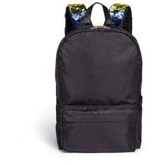 Tu Es Mon Trésor Velvet ribbon appliqué strap nylon backpack (33.925 RUB) ❤ liked on Polyvore featuring bags, backpacks, black, knapsack bag, multi pocket backpack, colorful backpacks, daypack bag and multi colored backpacks