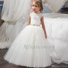 2017 Princess Cute White Ivory Flower Girl Dress Long Girls First Communion Dress Girls Lace Appliques Wedding Party Dresses Kids Prom Gowns Flower Girl Dresses Girls Christmas Dress Girls Communion Dresses Online with $82.29/Piece on Mfsdresses's Store | DHgate.com