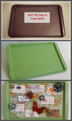 Cookie Sheet Magnetic Memo Board, DIY and Crafts, Paint Beachy color and/or shoreline also for Cabin paint brown and glue hiking sayings paper in it Arts And Crafts Kindergarten Home Crafts, Fun Crafts, Diy And Crafts, Arts And Crafts, Decor Crafts, Craft Ideas For The Home, Quick Crafts, Holiday Crafts, Memo Boards