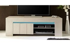 meuble tv design livia 140 cm - Meuble Tv Living Blanc Laque For You