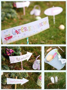 #Ostern - süße Schilder für die Eiersuche / easter egg hunt - Free #Printable Adobe Reader, Kitchen Ornaments, Fiber Rich Foods, Diy Ostern, Happy Easter, Photo Props, Easter Eggs, Free Printables, Place Card Holders