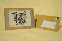 Pre-Stamped Black and White Vintage Thank You Card