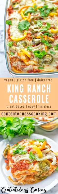 This King Ranch Casserole is a bit of nostalgia going back to childhood memories. It's entirely vegan, gluten free and super easy to make. Made with one surprising ingredient, but that makes all the difference for the taste and texture. An amazing easy lunch, dinner and also fantastic for potlucks. #vegan #glutenfree #lunch #dinner #plantbased #dairyfree #kingranch #easyfood #vegetarian