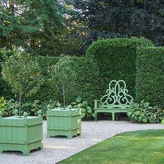 Lush green garden inspiration from Bettie Bearden Pardee of Private Newport Outdoor Garden Bench, Outdoor Decor, Garden Benches, Outdoor Spaces, Plant Breeding, Nantucket Style, Little Gardens, Green Garden, Garden Inspiration